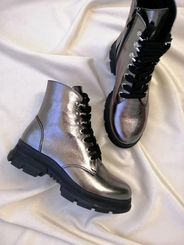 Женские ботинки, кожа никель. - Фото 9