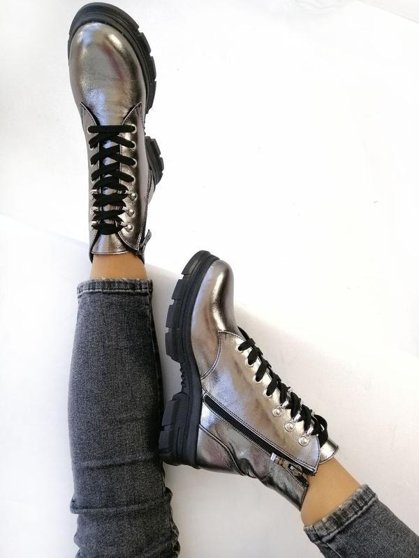Женские ботинки, кожа никель. - Фото 10