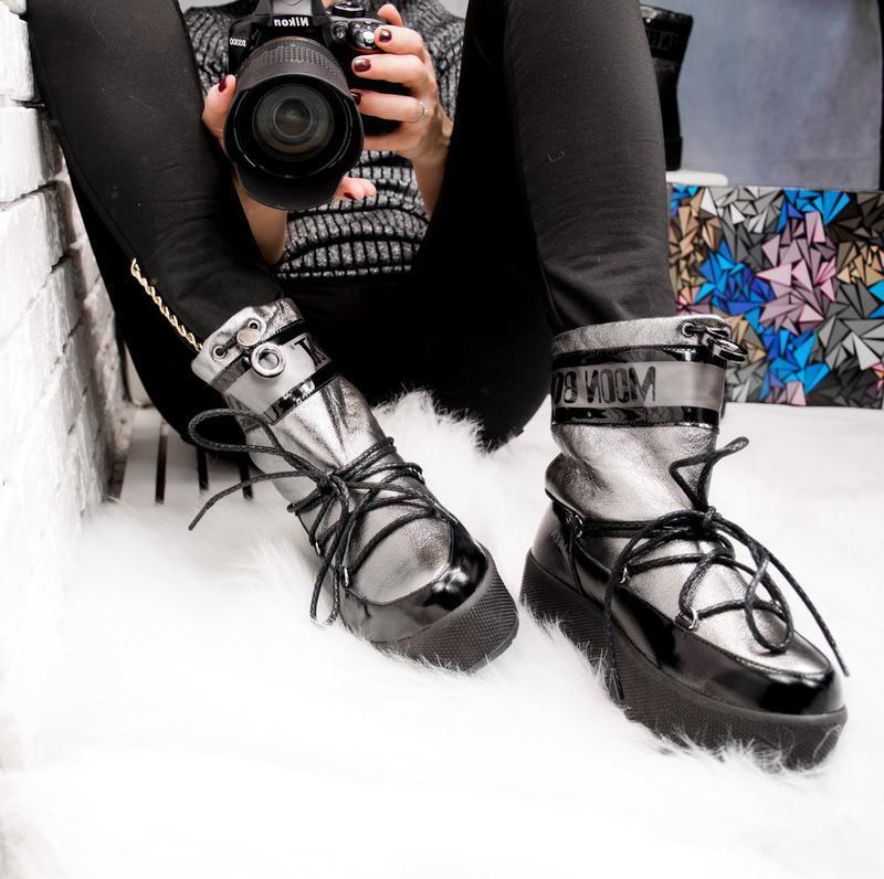 Зимние женские луноходы, комбинированные: черная лаковая кожа ...