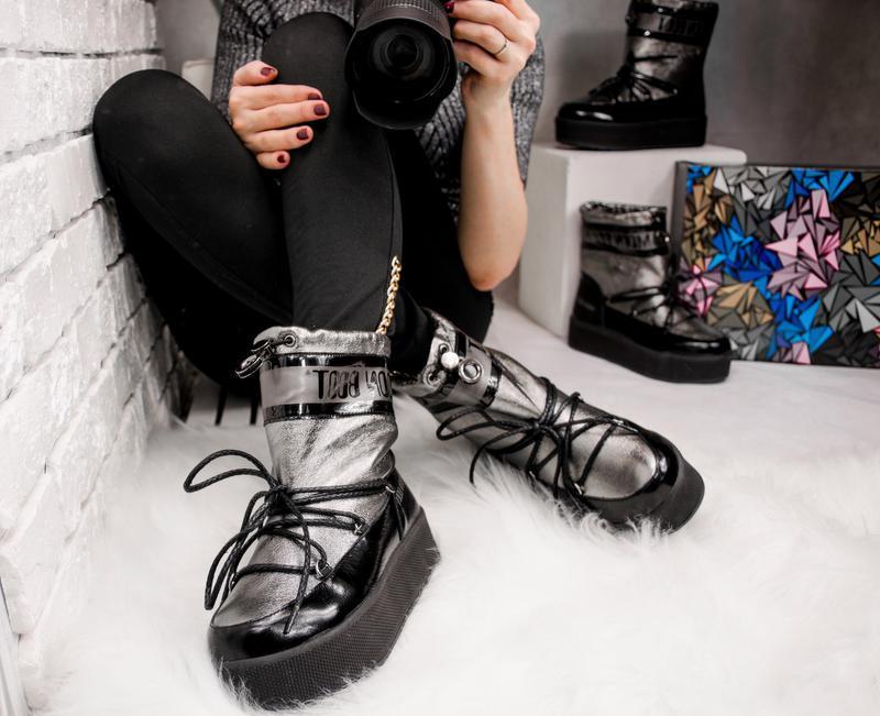 Зимние женские луноходы, комбинированные: черная лаковая кожа ... - Фото 2