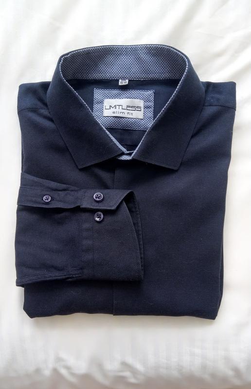 Чоловіча текстурна сорочна з довгим рукавом  limitless slim fit