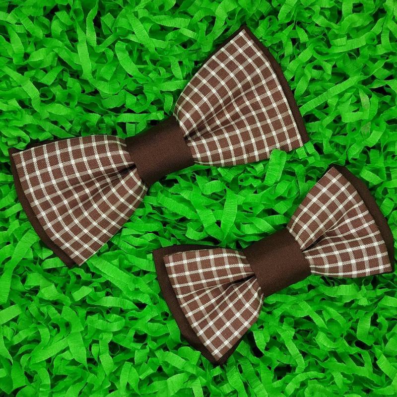 Галстук бабочка школьная двойная двухцветная с принтом клетка