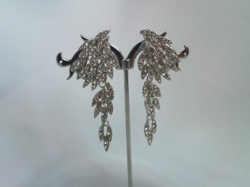 Очень красивые серьги крылья ангела с горным хрусталем - Фото 2