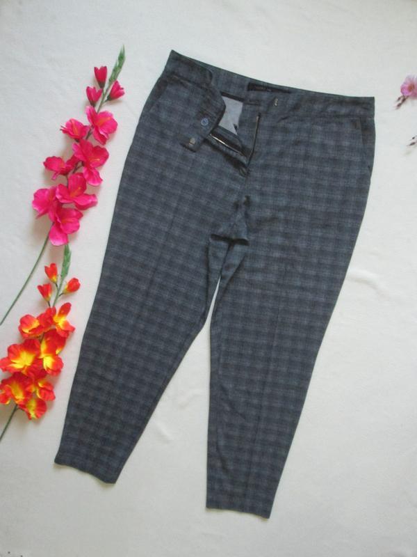 Шикарные стрейчевые стильные брюки мом в меланжевую клетку выс...
