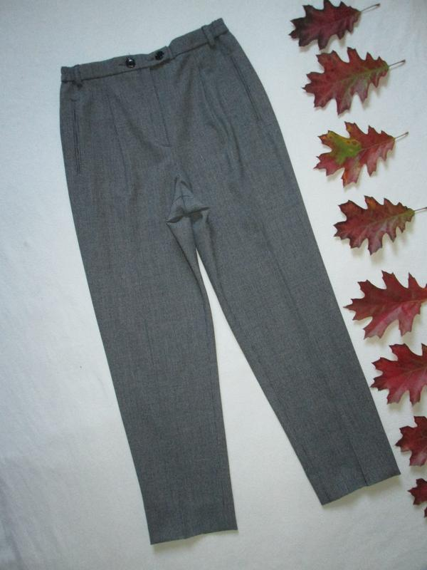 Тёплые стильные фирменные брюки мом 40% шерсть серый меланж вы...