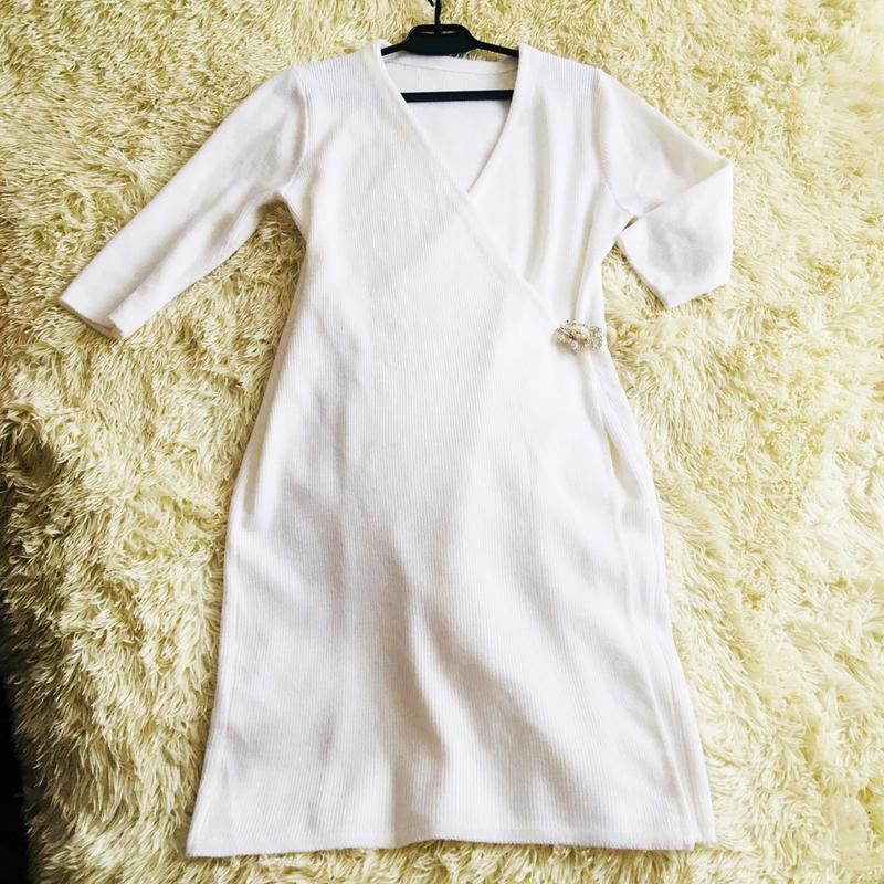 Платье тёплое белое вязаное размер 50
