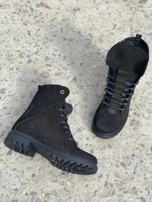 Женские зимние ботинки {натуральный нубук}