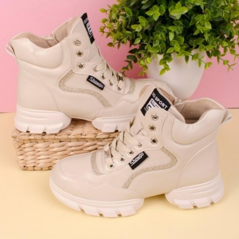 Женские ботинки белого цвета - Фото 2