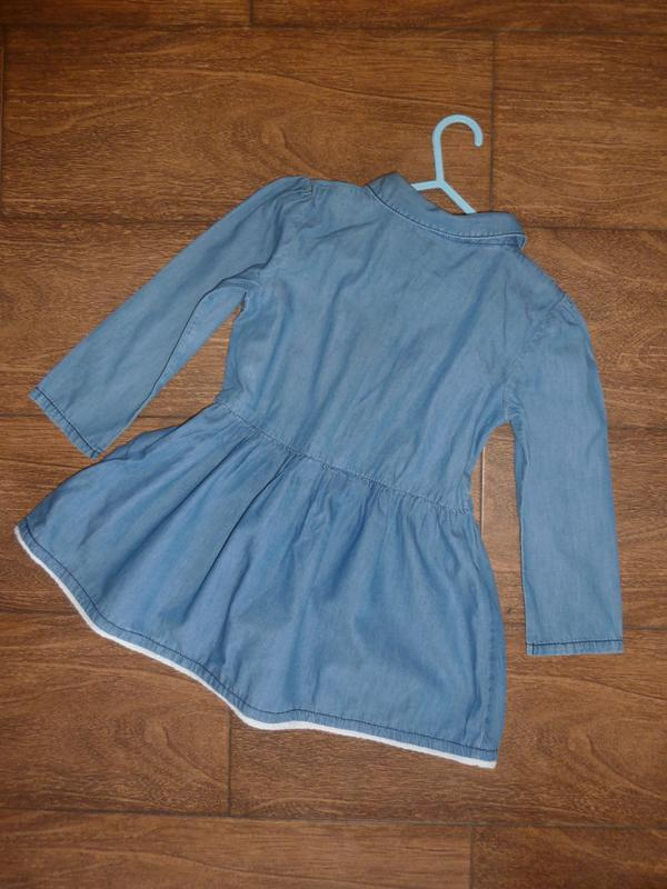 Джинсовое платье с рукавом на 4-5 лет - Фото 2