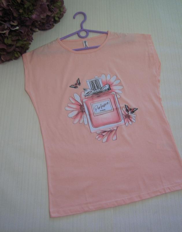 Персиковая футболка духи, есть модели