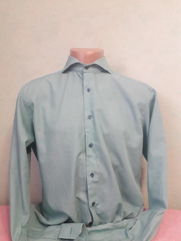 Стильная мужская рубашка бирюзового цвета