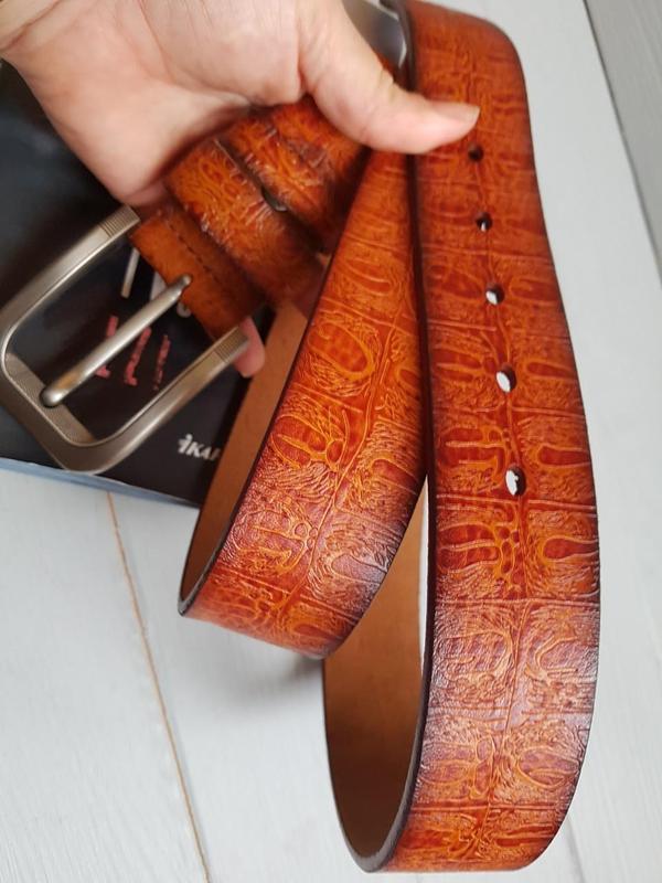 Фактурный ремень пояс из натуральной итальянской кожи