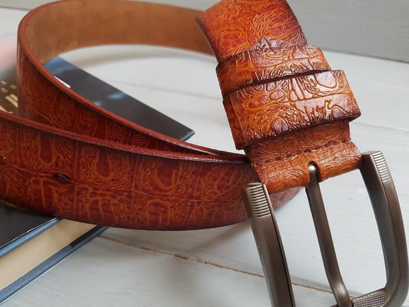 Фактурный ремень пояс из натуральной итальянской кожи - Фото 2