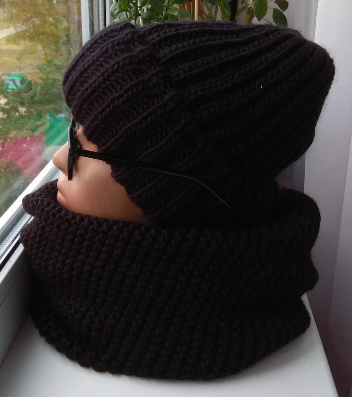 Новый модный комплект: шапка с подворотом (на флисе) и хомут в...