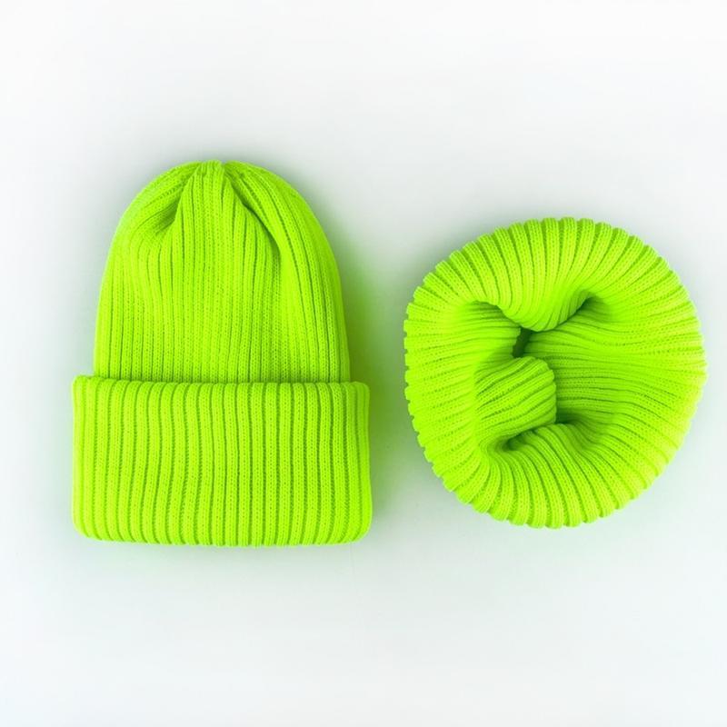 Лимонный комплект шапка + хомут снуд шерсть зима вязанный