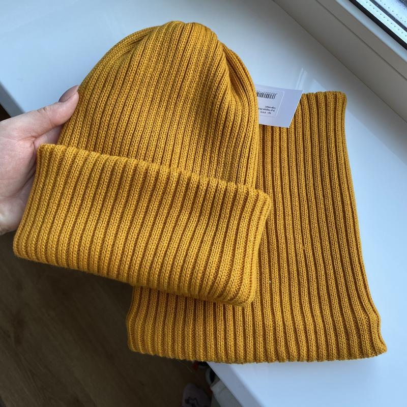 Комплект набор шапка + хомут рубчик шерсть зима ❄️