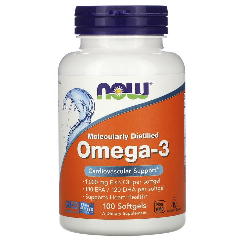 Омега-3 Рыбий жир Omega-3, 100 капс. Now Foods, США