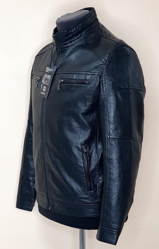 Куртка мужская кожезаменитель весенне осенняя - Фото 3