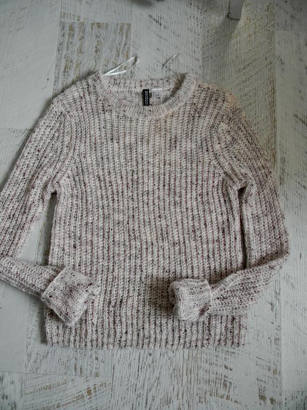 Нежный мягкий пудровый вязаный свитер h&m s-m