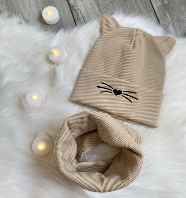 Комплект бежевый в рубчик . набор шапка с ушками котик ???? + хомут