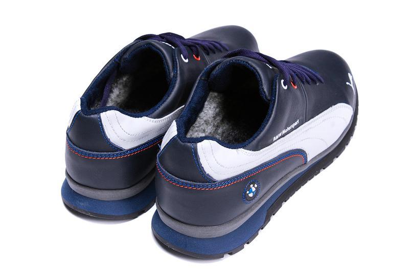 Мужские зимние кожаные кроссовки Puma BMW MotorSport Blue Pearl - Фото 2