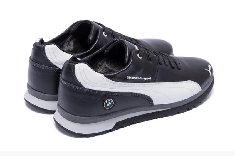 Мужские зимние кожаные кроссовки Puma BMW MotorSport Black Pearl - Фото 2