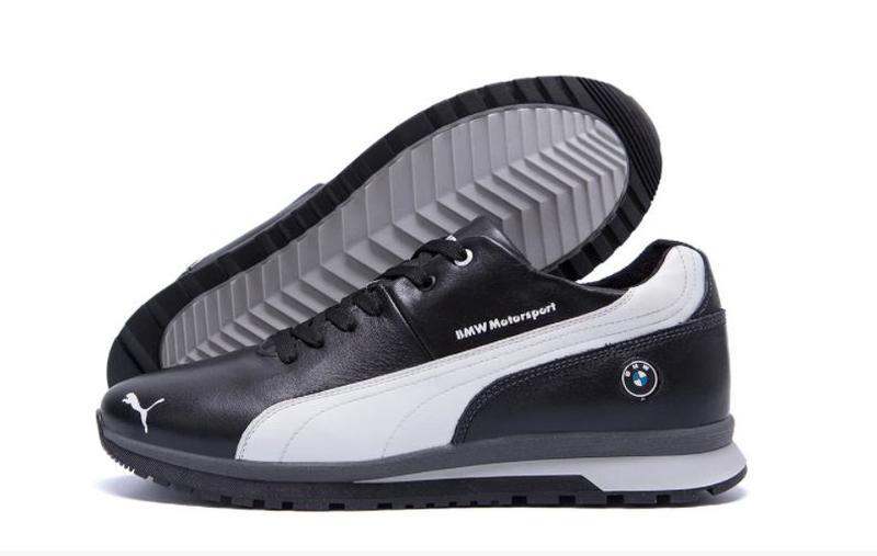 Мужские зимние кожаные кроссовки Puma BMW MotorSport Black Pearl