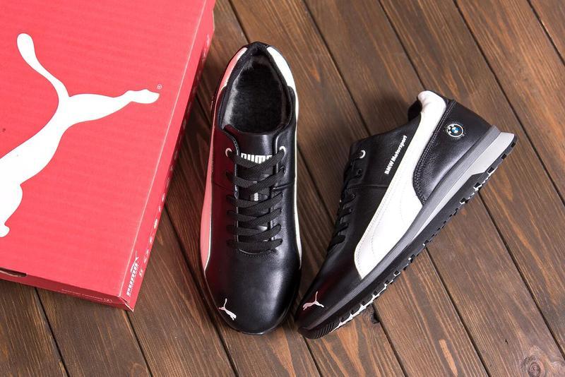 Мужские зимние кожаные кроссовки Puma BMW MotorSport Black Pearl - Фото 5