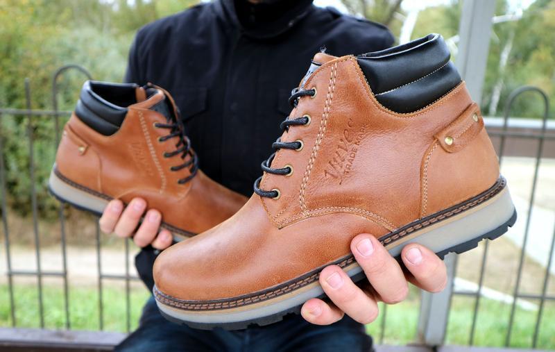 Мужские зимние ботинки {натуральная кожа}