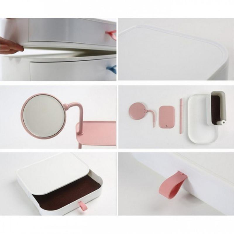 Настольный ящик-органайзер для хранения косметики с зеркалом