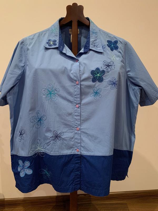 Двойная расшитая женская рубашка с футболкой большого размера