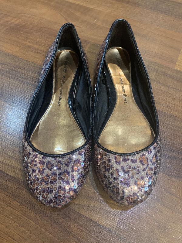 Леопардовые балетки туфли в паетках большого размера на широку...