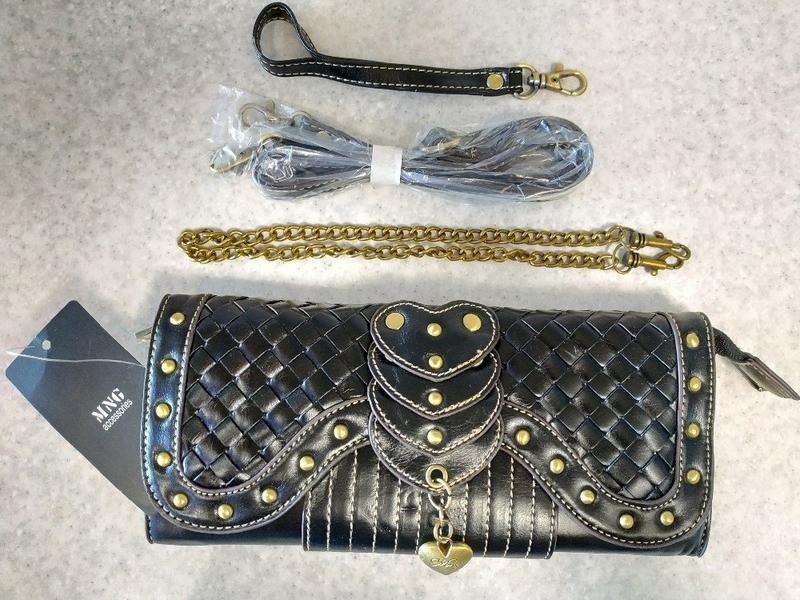 Винтажный женский клатч - кошелек черный mango