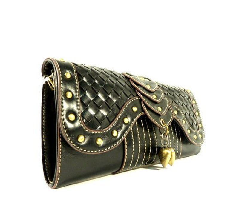 Винтажный женский клатч - кошелек черный mango - Фото 2