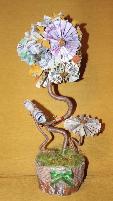Денежный топиарий из купюр, дерево Счастья.