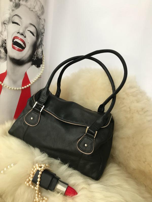 Практичная удобная вместительная кожаная сумка, натуральная кожа