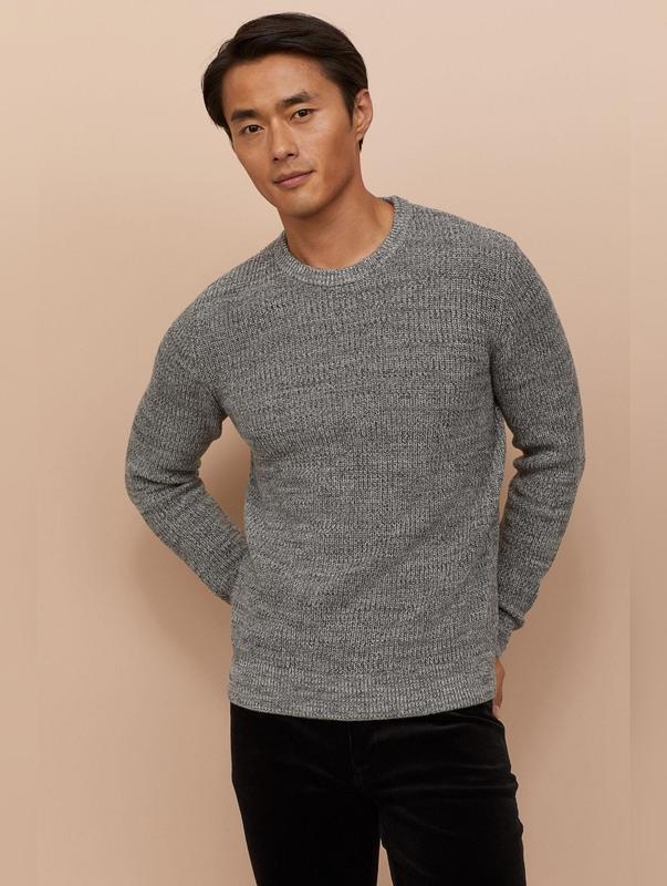 Стильный мужской джемпер свитер  h&m цвет серый меланж, размер...