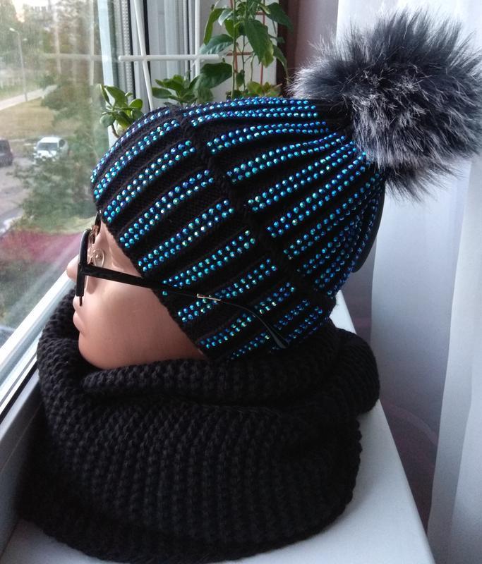 Новый стильный комплект: шапка на флисе, со стразами, и хомут,...