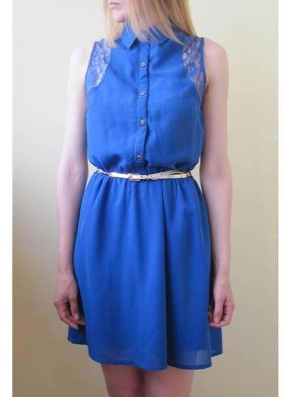 Шифоновое платье с воротником с кружевом платье солнце притале...
