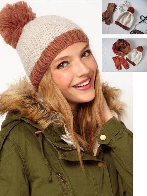Теплая шапочка с помпоном балабоном шерсть бежевая шапка