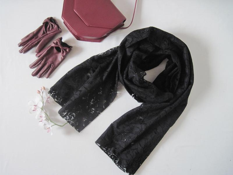Черный кружевной объемный шарф палантин six большой длинный шарф