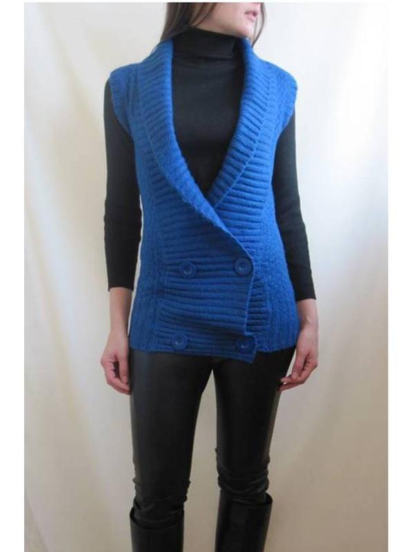Очень теплая синяя жилетка  tally weijl удлинненная длинная на...