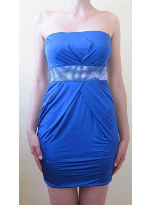 Синее яркое платье бюстье мини в обтяжку юбка тюльпан серебрис...