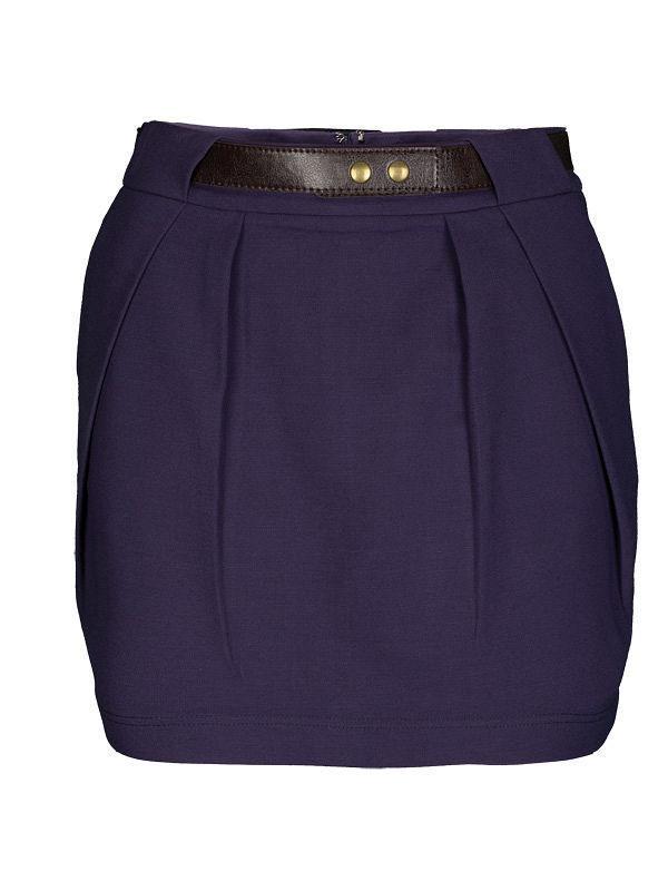 Фиолетовая юбка top secret с коричневым поясом юбочка тюльпан