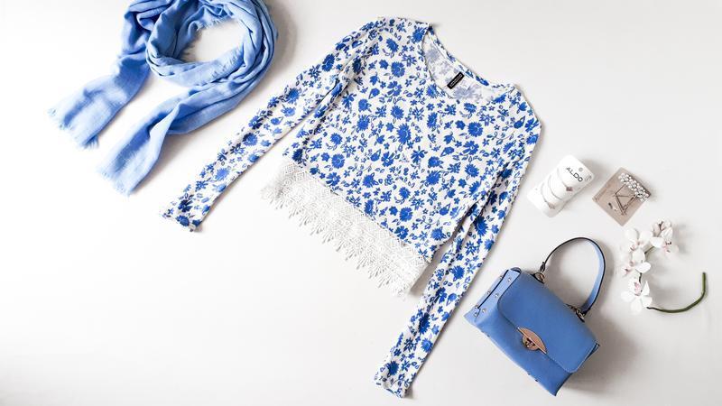 Кофточка  h&m легкий свитер с кружевом в цветочный принт нежно...