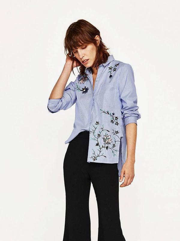 Новая рубашка zara в полоску с вышивкой полосатая вышитая блуза