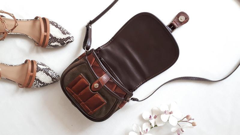 Женская сумка натуральная кожа и замша кожаная замшевая сумочка