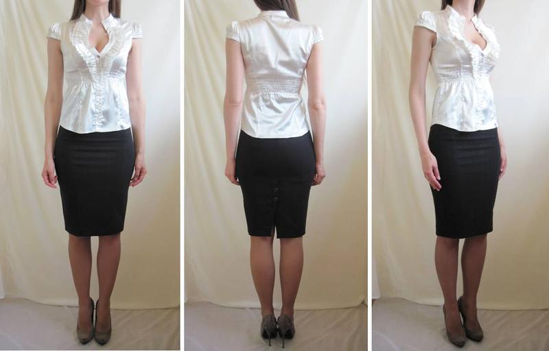 Белая женская блуза блузка с декольте приталенная короткий рукав - Фото 5