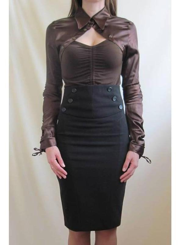 Коричневая шоколадная женская блуза блузка рубашка вырез на груди