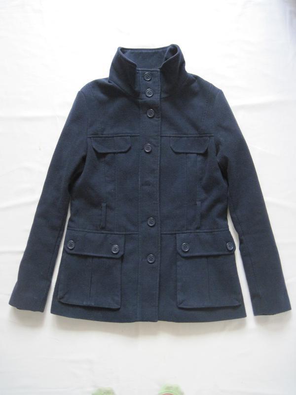 Женское пальто H&M темно-синее полупальто пояс воротник
